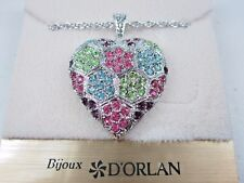"Pastel Swarovski Crystals 18"" 0917 D'Orlan Rhodium Plated Heart Pendant with"