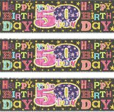 AGE 50TH BIRTHDAY BANNER FOIL PINK / BLACK (SE)