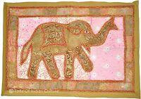 "Vintage 36"" Elephant Patchwork Wall Hanging Throw Tapestry Table Runner India"