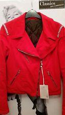 "WOMEN  BIKER BRIGHT RED VELOUR JACKET/COAT""1983"" DECO SWAROVSKI CRYSTALS EU 42 S"