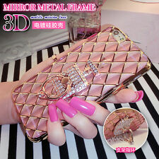 3D Grid Bling Diamond Soft Gel Ring Holder Stand Case Cover for Samsung Galaxy
