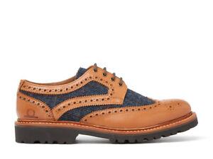 Chatham HEBRIDES - Mens Brogue Dress Shoes Tan/Navy Tweed RRP 160