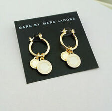 Marc by Marc Jacobs Gold Milky White Enamel Logo Charm Small Round Hoop Earrings