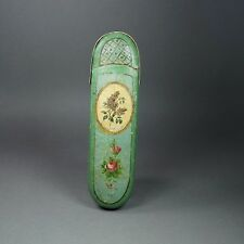 19th Century French Spectacle Glasses Case Green Papier Mache Roses Lilacs 1840s