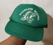 Vintage Woodland Beavers Green Trucker Rope Hat Cap Snapback