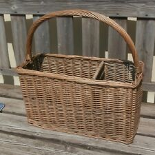 Vintage Wicker Basket ~ Two Section Rectangle ~ Forage~Fruit  Wine~ Cottagecore~
