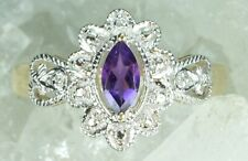 NEW Genuine Solid 9CT Yellow Gold Real Natural Amethyst Diamond Ring Size M 1/2
