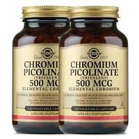 2x Solgar Chromium Picolinate 500 mcg 120 Vegetable Capsules Made in USA