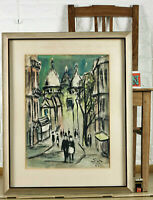 S? Unreadable Signed Pastel Painting From 1961 City View Paris Expressive