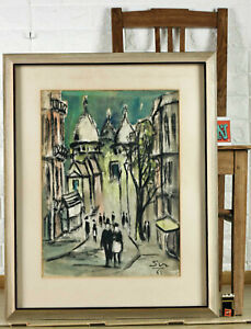 Unreadable Signed S Pastel Painting From 1961 City View Paris Expressive
