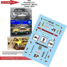 Decals 1/18 réf 881 Porsche 2,7 l Chasseuil - Baron Corse 1974
