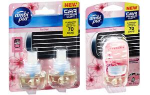 Ambi Pur Premium Clip Car Air Freshener For Her 7.5mL+ x2 Refills