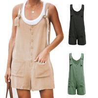 Womens Summer Linen Cotton Jumpsuit Dungarees Pocket Shorts Playsuit Overalls