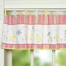 Striped Chick Tab Top Valance Pink Butterfly Pastel Applique/Embroidered Chic
