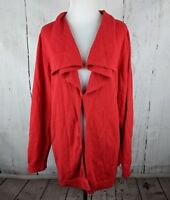 Womens LANDS END One Button Drape Front Cardigan 3X Red 24/26W Cashmere Blend
