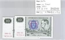 2 BILLETS SUEDE - 10 KRONOR - 1990 - EA et EH