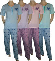 New Ladies Women's Pyjama Sets Heart V Neck Nightwear Short Sleeve PJ's S to 2XL