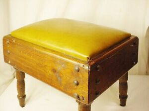 """Vtg Wood Foot Stool Ottoman Bench Leather Top Hand Crafted 16"""" Lx12""""W x14"""" H"""