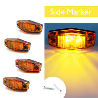 4x Amber LED Indicator Clearance Side Marker Light For Car Bus Van Truck Trailer