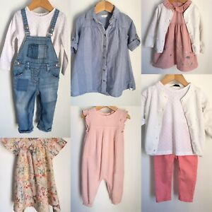 Baby Girl Bundle Size 12-18 Months Next M&S George Smocked Dress Dungarees Top