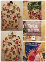 Toes on the Nose Hawaiian Shirt Size Medium Vintage Hawaiian Music Legends Print