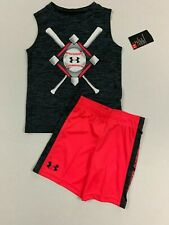 Under Armour NWT 4 5 6 7 Boy's Baseball Gray Sleeveless Top Pink Shorts Outfit