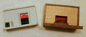 Vintage Triang, Lundby, Size Pair Of Fireplaces  1 Plastic & 1Wood With Tiles
