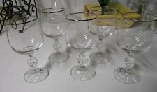 "Set of 5 Bohemia ""CLAUDIA"" platinum Crystal Wine Glasses 5 3/4"" 6 ounces"