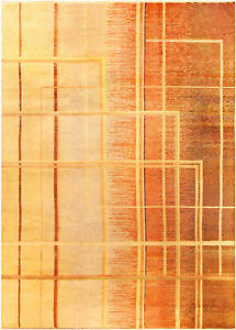 Art Deco Orange, Beige and Brown Hand Knotted Wool Rug BB3972
