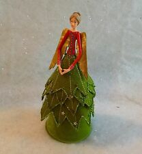 Gisela Graham Christmas Tree Holly Leaf Fairy Angel Topper Green Red Vintage Top