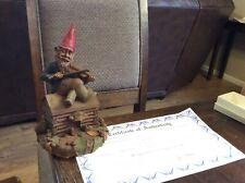 Signed Fiddler 1988 Tom Clark gnome figurine ~ Cairn Studio Retired Coa