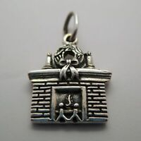 Vintage FIREPLACE Charm for Bracelet PENDANT Sterling Silver CHRISTMAS Wreath
