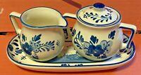 Porcelain-Delft Blue-Sugar & Creamer Set w/ Tray-Hand Painted-Holland-Vintage