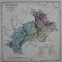 HAUTES ALPES, GAP, FRANCE original antique map, Lorsignol, Le Vasseur, 1877