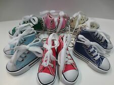 "Lot of 12 pc 3""  Canvas Tennis Shoe Key Chains / 6 Colors / New"