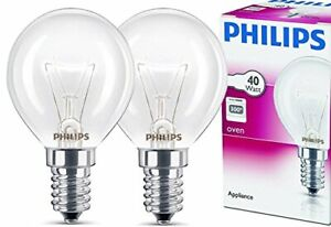 2x Philips Backofenlampe E14 40W Tropfenform 45mm Durchmesser Temperatur 300°C