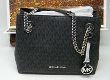 New Michael Kors Jet Set Silver Chain Black Signature Logo Medium Messenger Bag