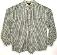 Outdoor Life Mens Shirt XXL Button Down Long Sleeve Green Plaid 2XL