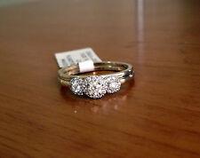 White Gold Past Present Future Three Stone Halo Style Diamonds Engagment Ring