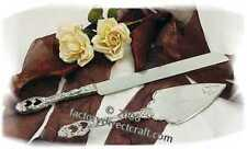 Antiqued Silver Plated Heart Wedding Cake Sever & Knife