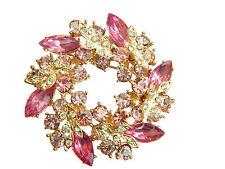 Gold & Pink Crystal Rhinestones Wreath Brooch Pin BR52
