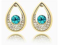 Austrian Crystal Gold & Ocean Blue Rhinestones Teardrops Studs Earrings E405