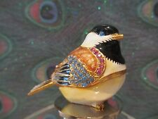 CHEERY CHICKADEE ~ ENAMEL & CRYSTAL WINE STOPPER  #53031