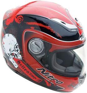 Nitro Hellrazor Full Face Street Helmet, Red or Blue, L or XL, DOT, New, Sale!