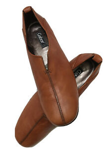 Women shoes Gabor Comfort cowhide leather  flat loafer caramel brown