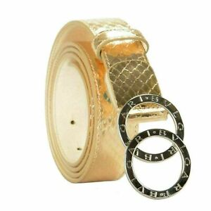 Bvlgari 100% Leather Gold Women's Belt US 44 IT 110