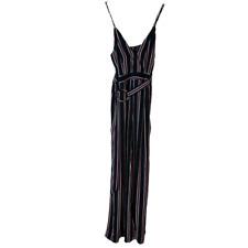 Fashion Nova Striped Jumper Jumpsuit Black Purple L Large