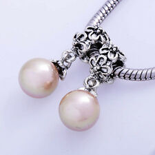 FIN003-2pcs pInk PEarl Silver flower spacer Beads For Charm Bracelet or Necklace