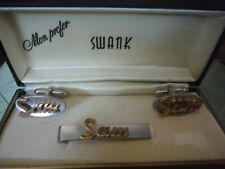 "Vintage/Antique Swank ""Sam"" cufflinks and tie bar"
