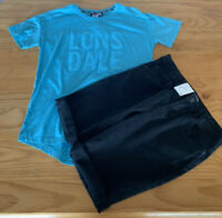 Girls size 14 Lonsdale Blue  t-shirt & black denim shorts knee length Target NEW